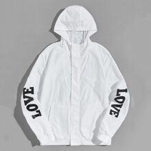 Jacke mit Buchstaben Grafik, seitlichen Taschen und Kapuze
