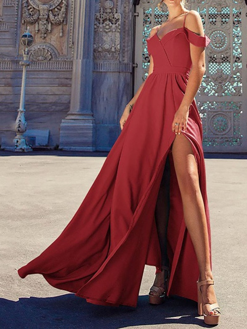Ericdress Split Short Sleeve Floor-Length A-Line Elegant Maxi Dress