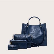 4 Stuecke Handtasche Set mit Krokodil Praegung