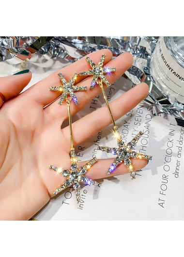 Mother's Day Gifts Pentagram Shape Rhinestone Embellished Earring Set - One Size