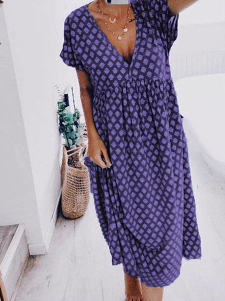 Milanoo Summer Dress Burgundy V-Neck Polyester Beach Dress