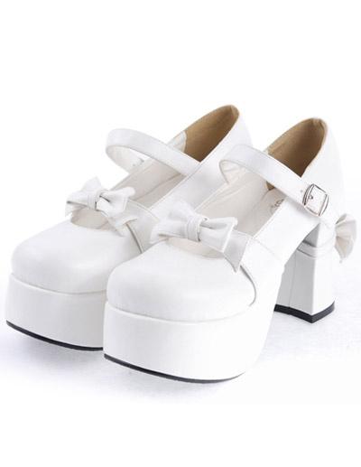Milanoo Negro mate Lolita Tacones Gruesos Zapatos Plataforma Lazos Hebilla