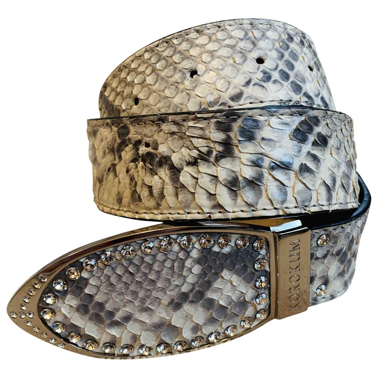 Non Signé / Unsigned \N Grey Python belt for Women M International