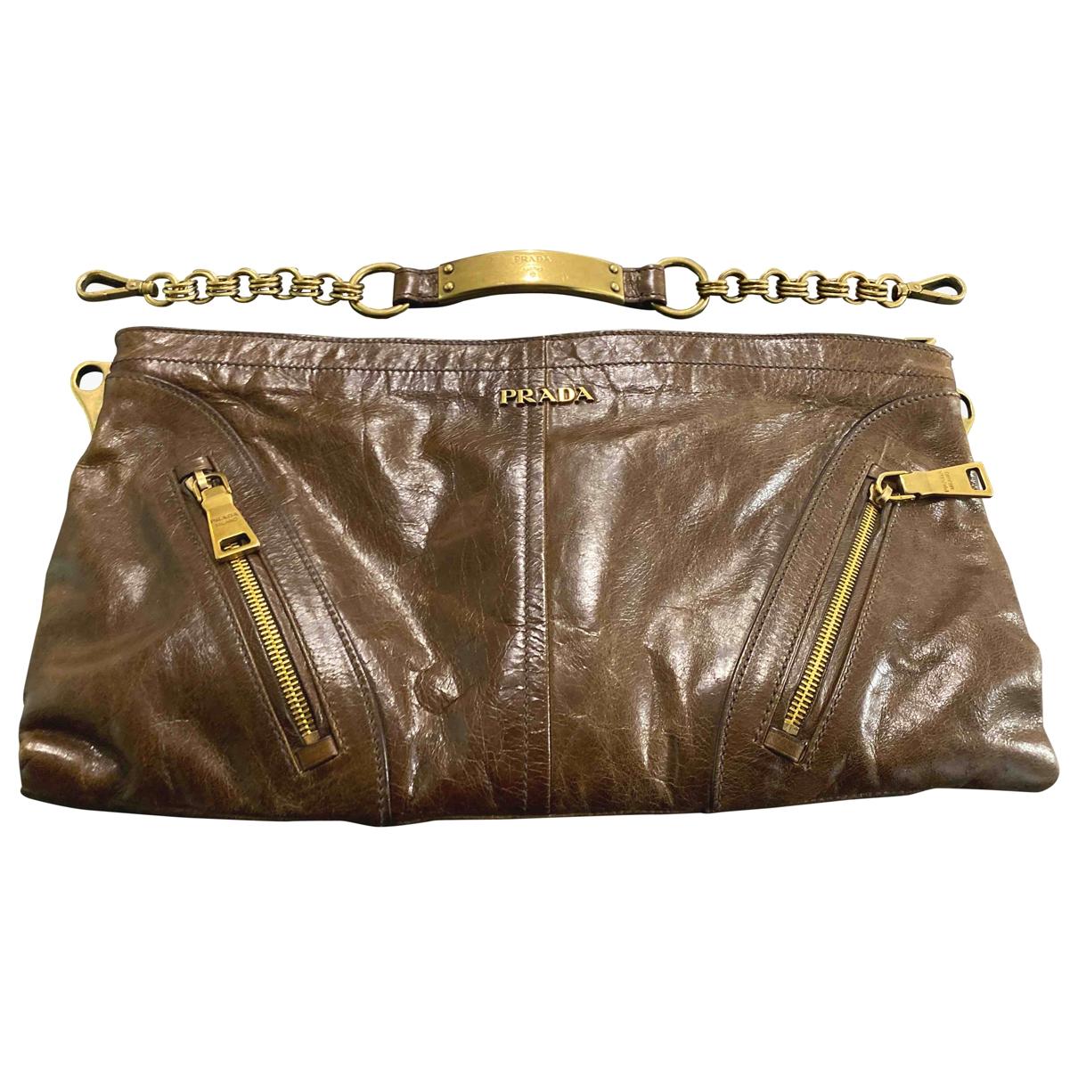 Prada \N Brown Leather Clutch bag for Women \N