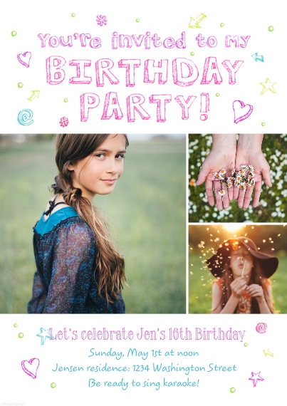 Kids Birthday Party 5x7 Cards, Premium Cardstock 120lb with Elegant Corners, Card & Stationery -Birthday Party