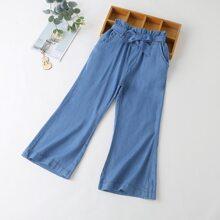 Girls Belted Paper Bag Waist Jeans