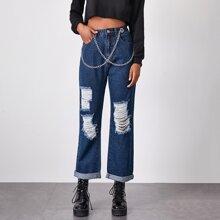 Garment Eyelets Chain Detail Ripped Roll Hem Jeans