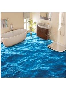 3D Blue Sea Wave Pattern PVC Non-slip Waterproof Eco-friendly Self-Adhesive Floor Murals