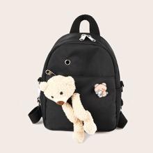 Teddy Bear Decor Pocket Front Backpack