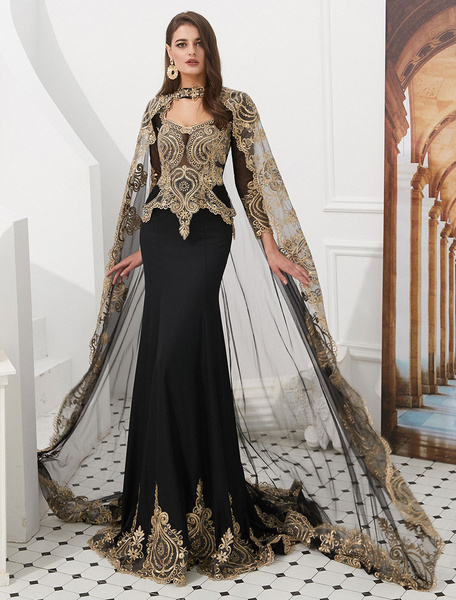 Milanoo Luxury Evening Dresses Embroidered Beaded Queen Anneneck Long Sleeve Formal Gowns With Cloak
