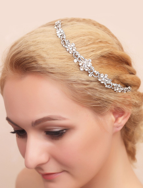 Milanoo Silver Wedding Headpiece Alloy Rhinestone Tiara Bridal Headband