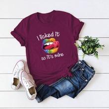 Ubergrosses T-Shirt mit Lippe und Buchstaben Grafik