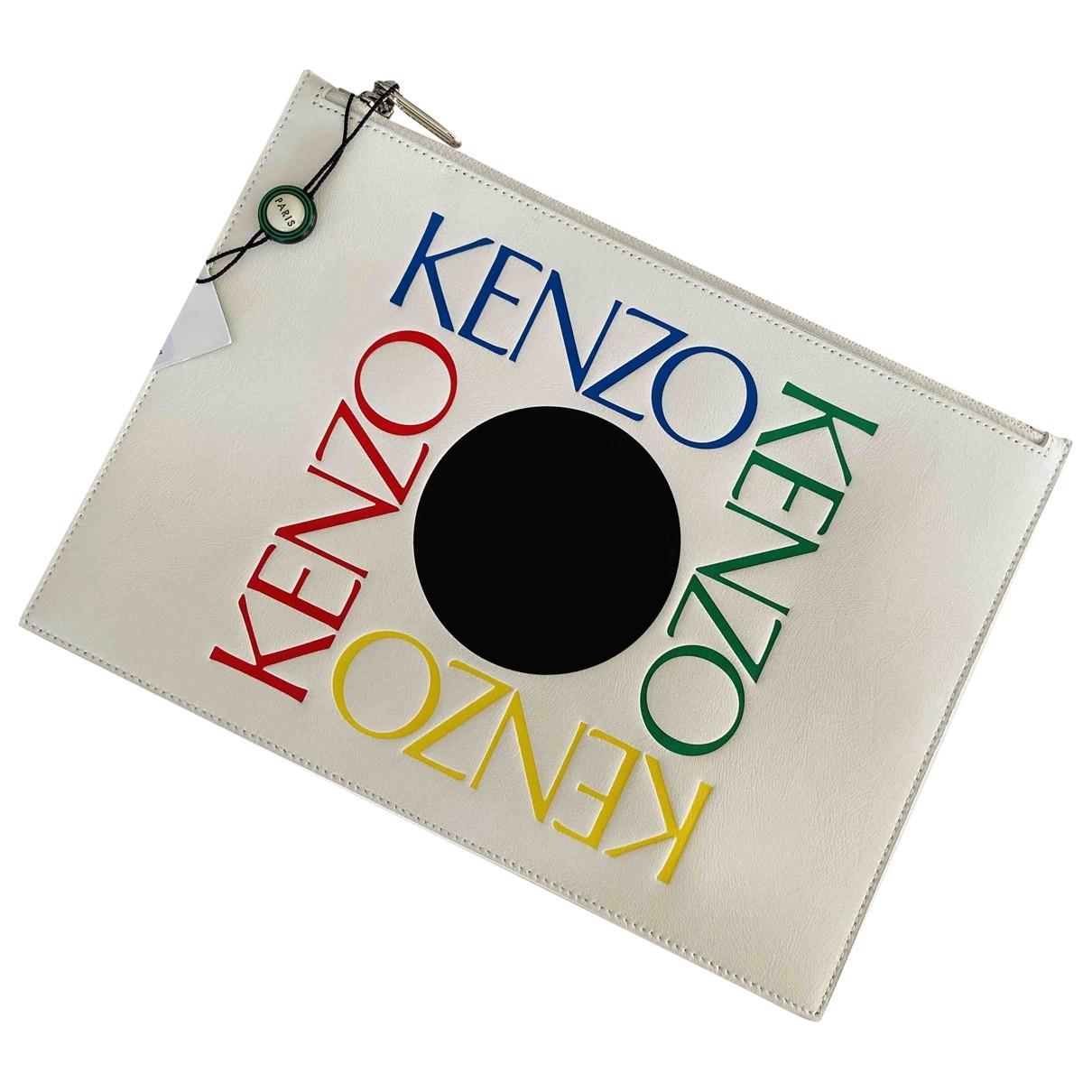 Kenzo - Pochette   pour femme en cuir - blanc