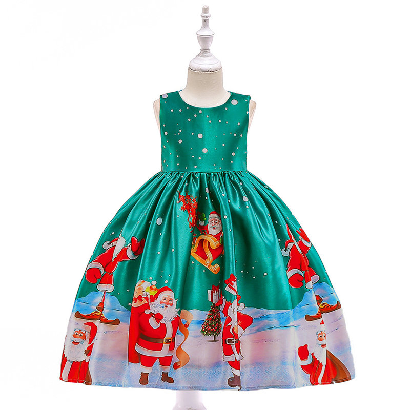 Girls Dress Christmas Eve Xmas Snow Holiday Party Dresses For 3Y-13Y