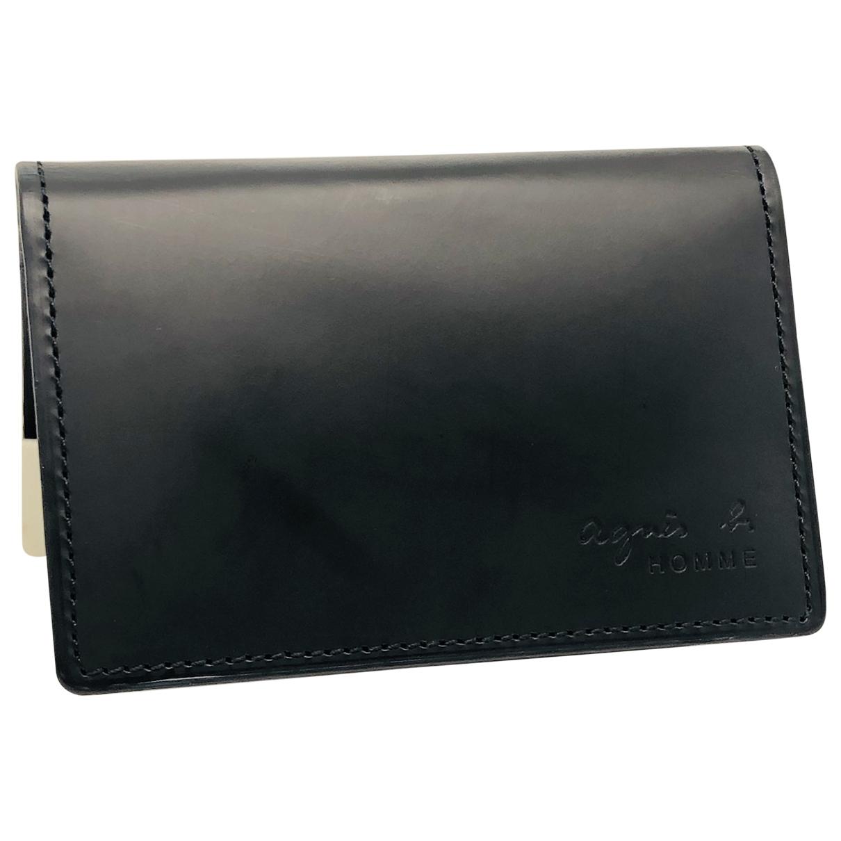 Agnès B. \N Black Leather Small bag, wallet & cases for Men \N