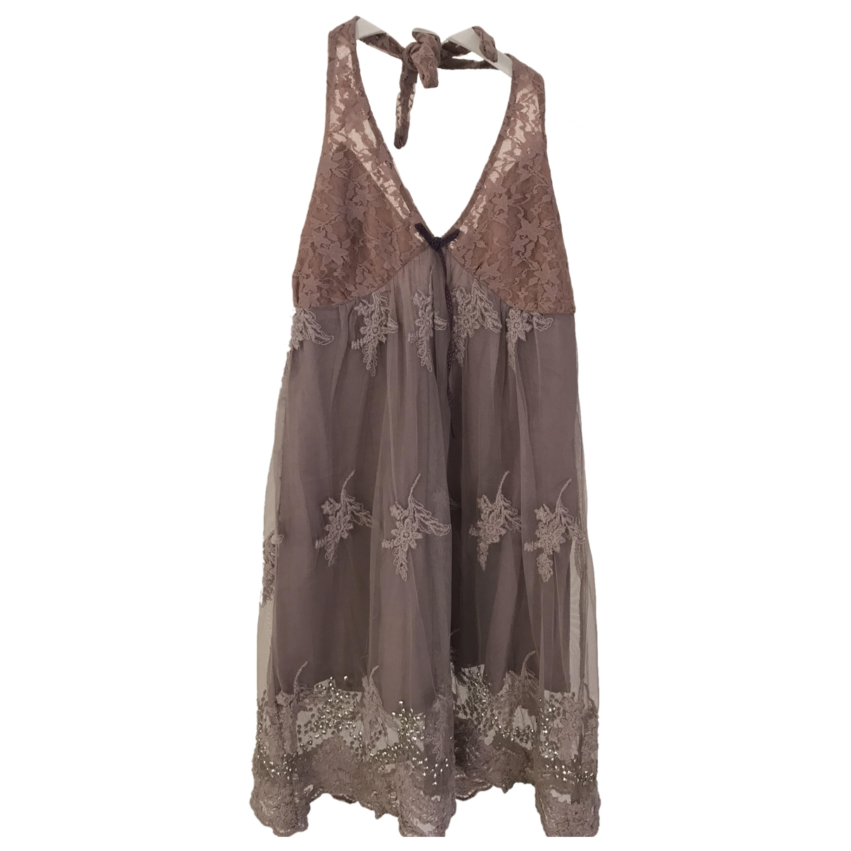 Non Signé / Unsigned \N Beige Lace dress for Women XS International