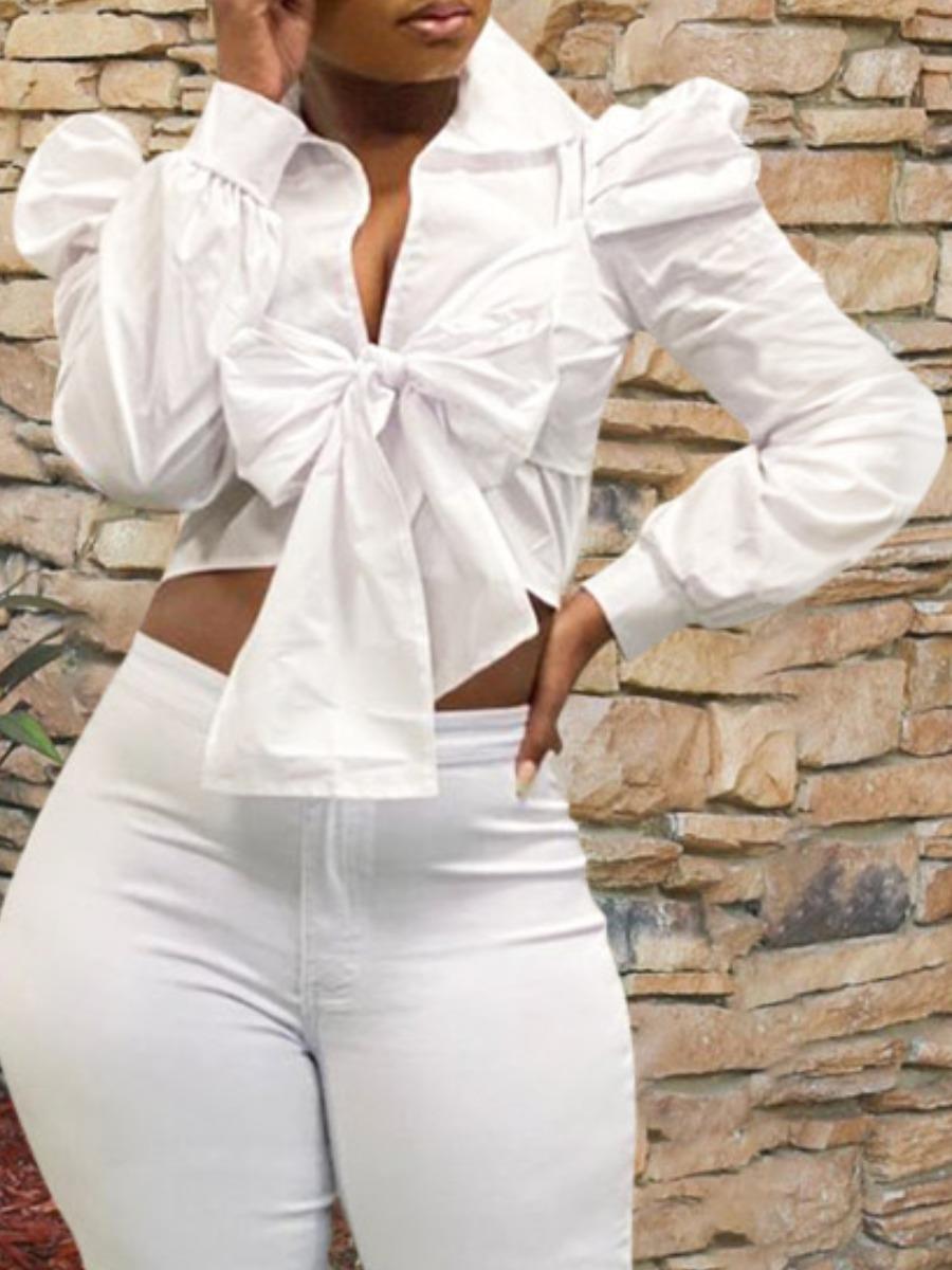 LW lovely Stylish Turndown Collar Bow-Tie White Blouse