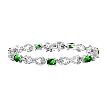 Simulated Green Sterling Silver Infinity 7.5 Inch Tennis Bracelet, One Size , No Color Family