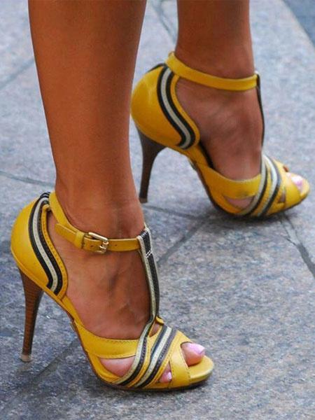 Milanoo Sandalias de tacon de stiletto estilo street wear Sandalias de punter Peep Toe de color-blocking estilo moderno para mujer