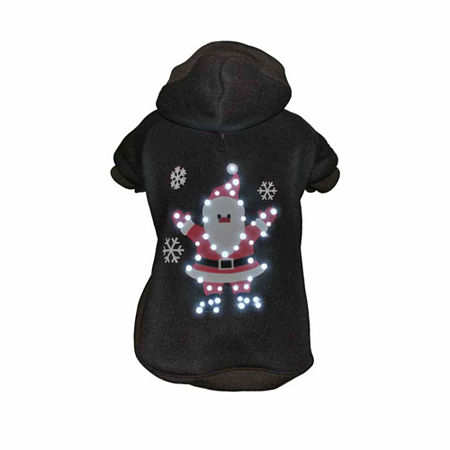 The Pet Life LED Lighting Juggling Santa Hooded Sweater Pet Costume, One Size , Black