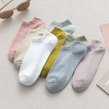 Solid Ribbed Ankle Socks - 8 Pairs