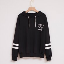 Heart & Letter Graphic Varsity Striped Hoodie