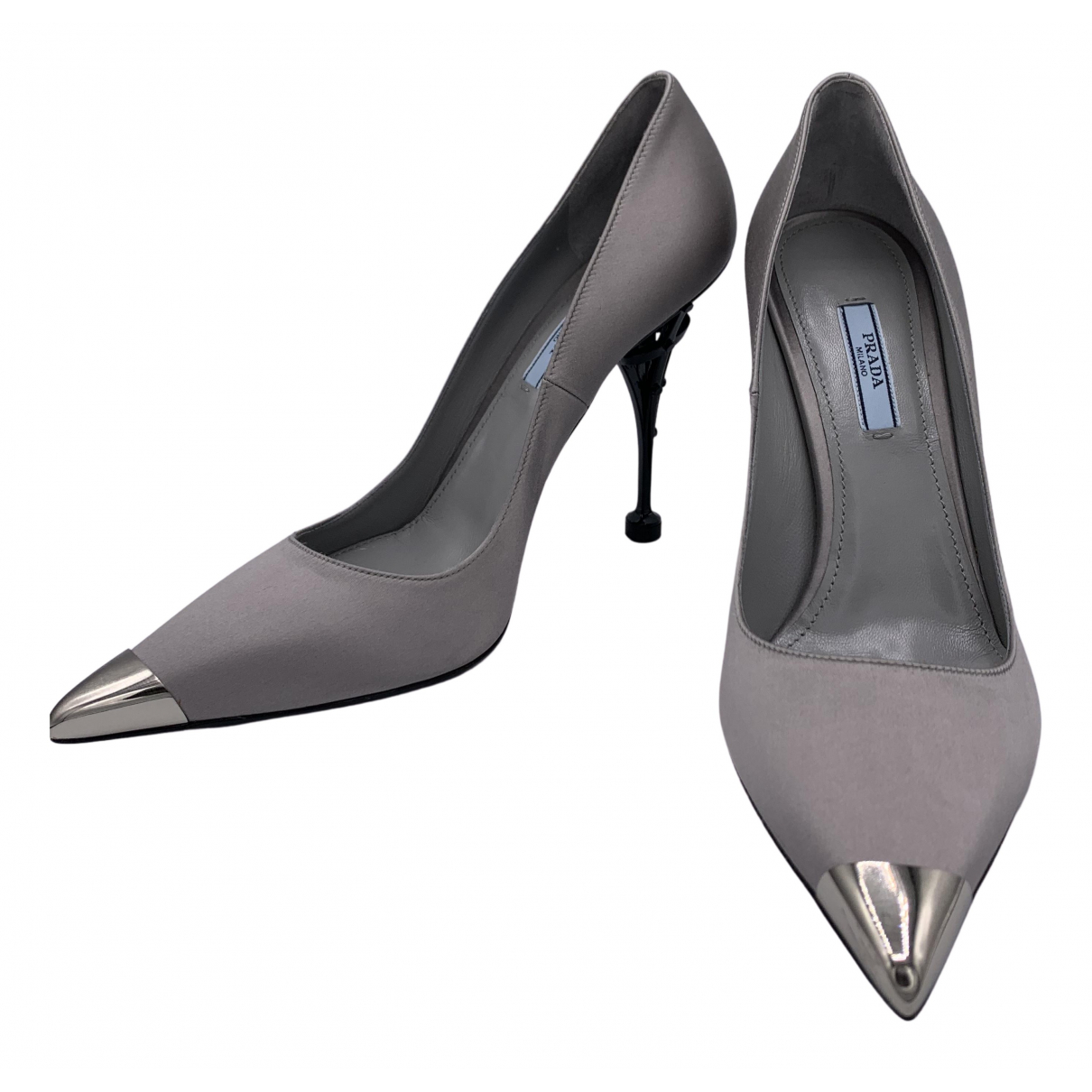Prada N Grey Cloth Heels for Women 39 EU