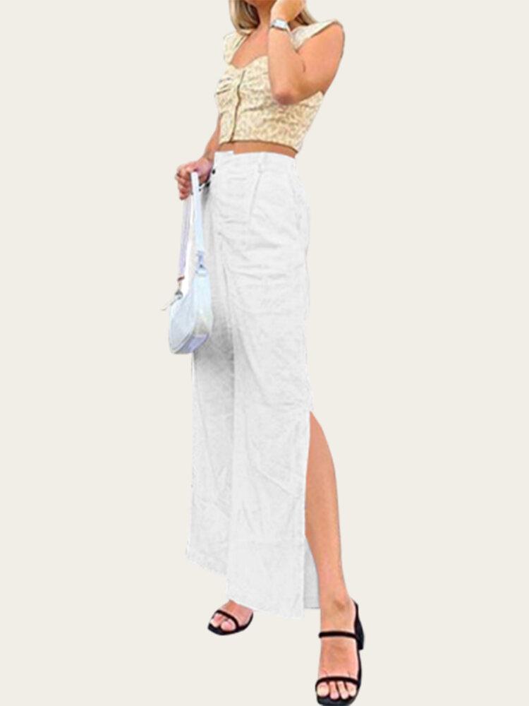 Casual Split Hem Straight Plus Size Pants
