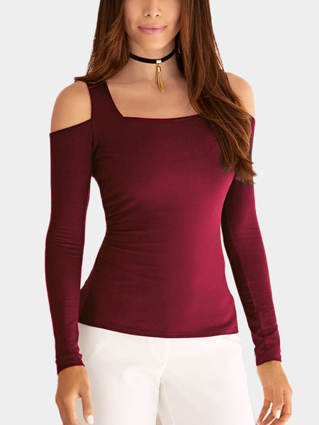 Yoins Burgundy Cold Shoulder Long Sleeves Basic Top