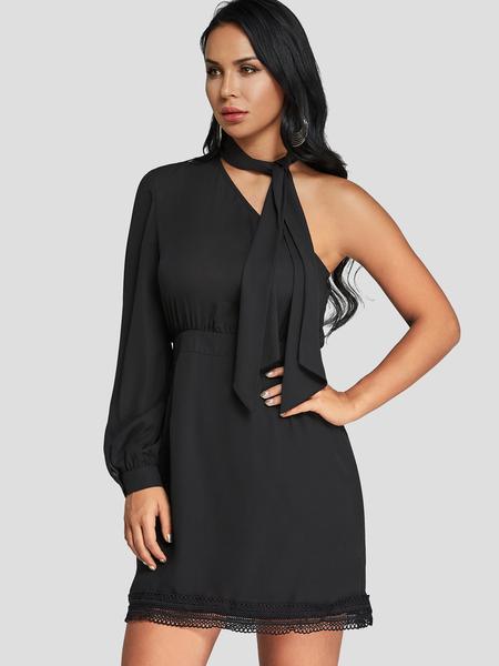 Yoins Black One Shoulder Lace Hem Mini Dress