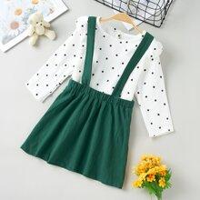 Toddler Girls Polka Dot Ruffle Trim Blouse With Pinafore Skirt