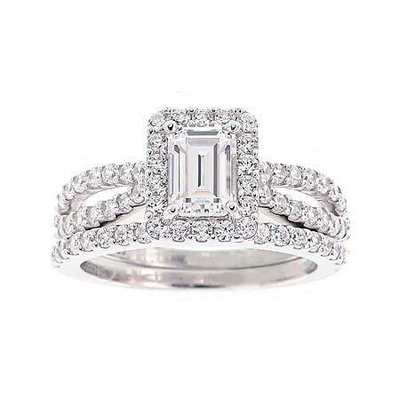 DiamonArt Cubic Zirconia Sterling Silver Emerald-Cut Bridal Ring Set, 7 , No Color Family