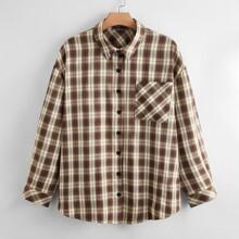 Bluse mit Karo Muster und Taschen vorn