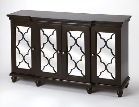 Jocelyn Collection 4428117 Sideboard with Transitional Style  Rectangular Shape  Medium Density Fiberboard (MDF) and Rubberwood Solids in Chocolate