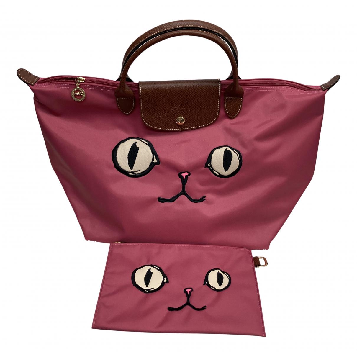 Longchamp - Sac a main Pliage  pour femme en toile - rose