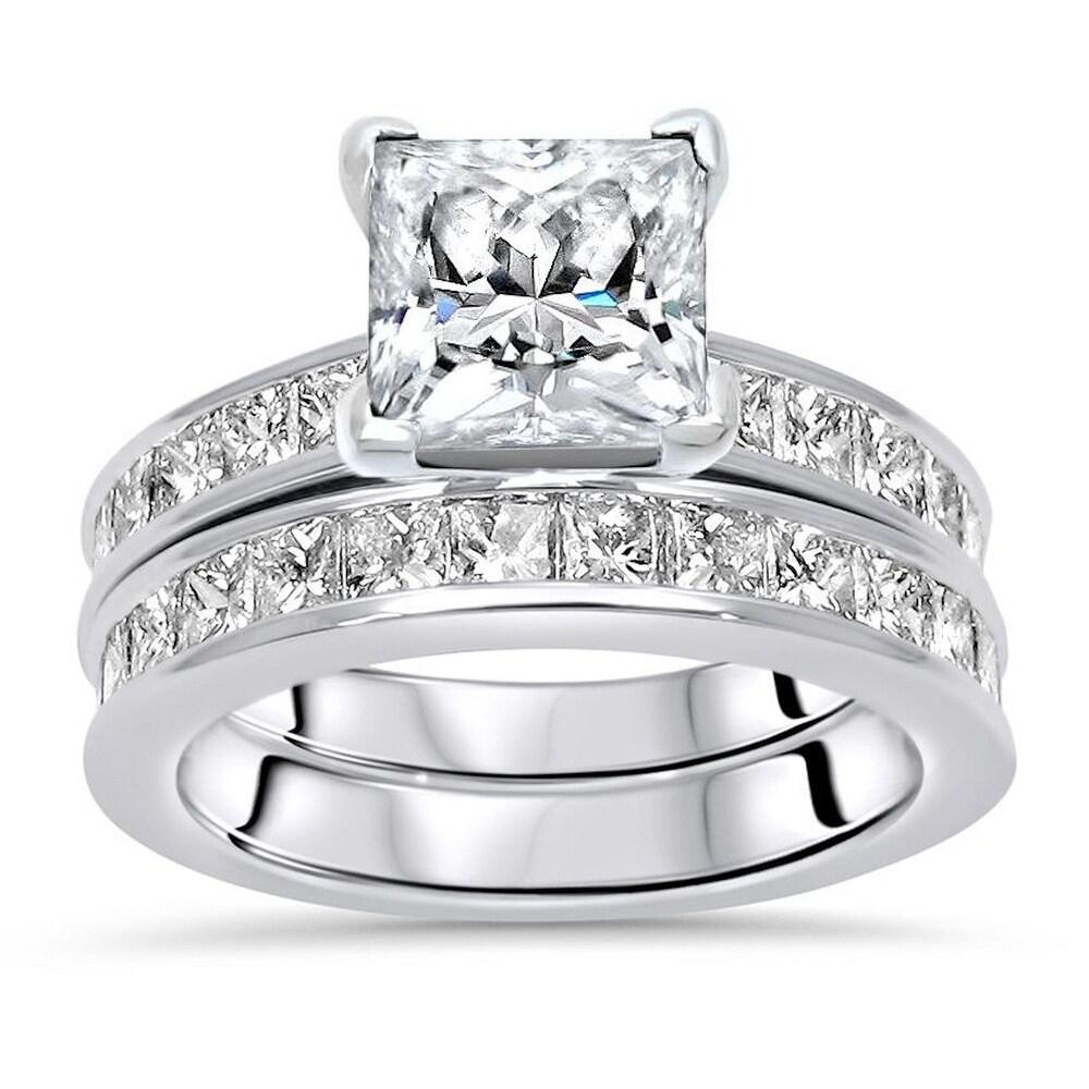 14k White Gold 2.0ct Princess Cut Moissanite and 9/10ct Diamond Engagement Ring (6)
