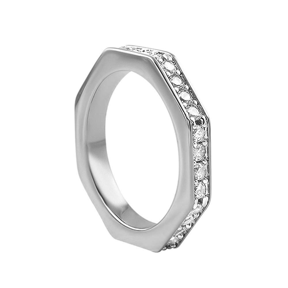 Skinny Octagon Iced Out Ring Rhodium