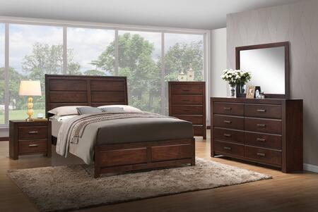 Oberreit Collection 25790QSET 5 PC Bedroom Set with Queen Size Bed + Dresser + Mirror + Chest + Nightstand in Walnut