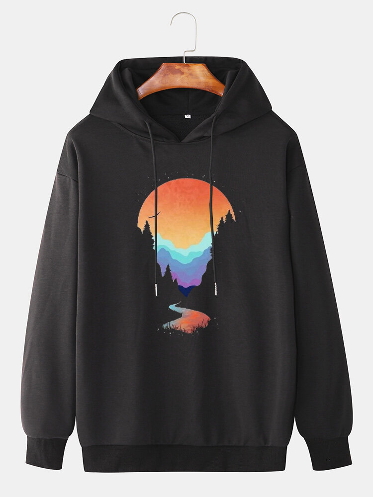 Mens Scenery Graphic Print Loose Pullover Drawstring Hoodie