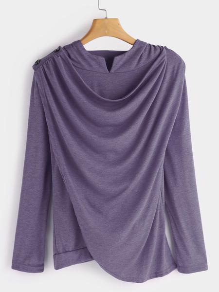 Yoins Purple Drape Sagging Long Sleeves Top With Irregular Hem