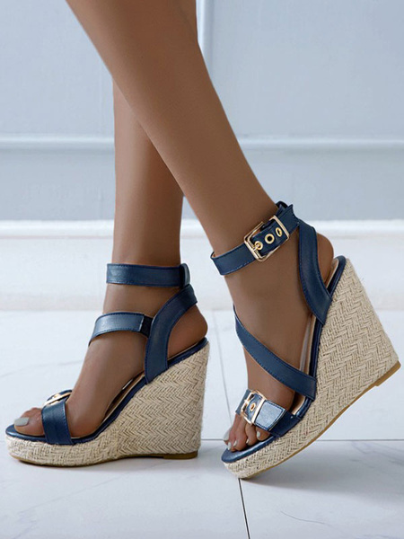 Milanoo Wedge Sandals For Women Attractive PU Leather Metal Details Round Toe Wedge Sandals