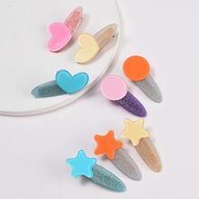 Random Geometric Glitter Hair Clip 3pcs