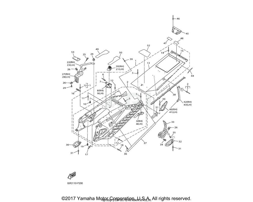 Yamaha OEM 8JW-F1923-30-00 REINEFORCEMENT, FRAME REAR 1