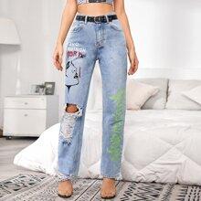 Blau  Taschen  Buchstaben  Laessig Jeans
