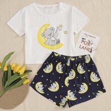 Cartoon And Galaxy Print Pajama Set