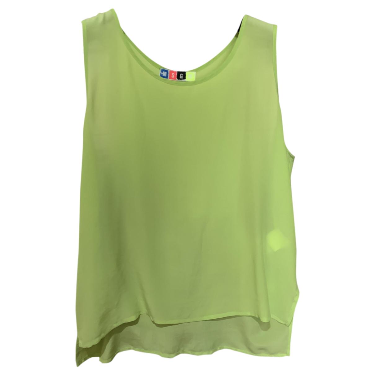 Msgm - Top   pour femme en soie - vert