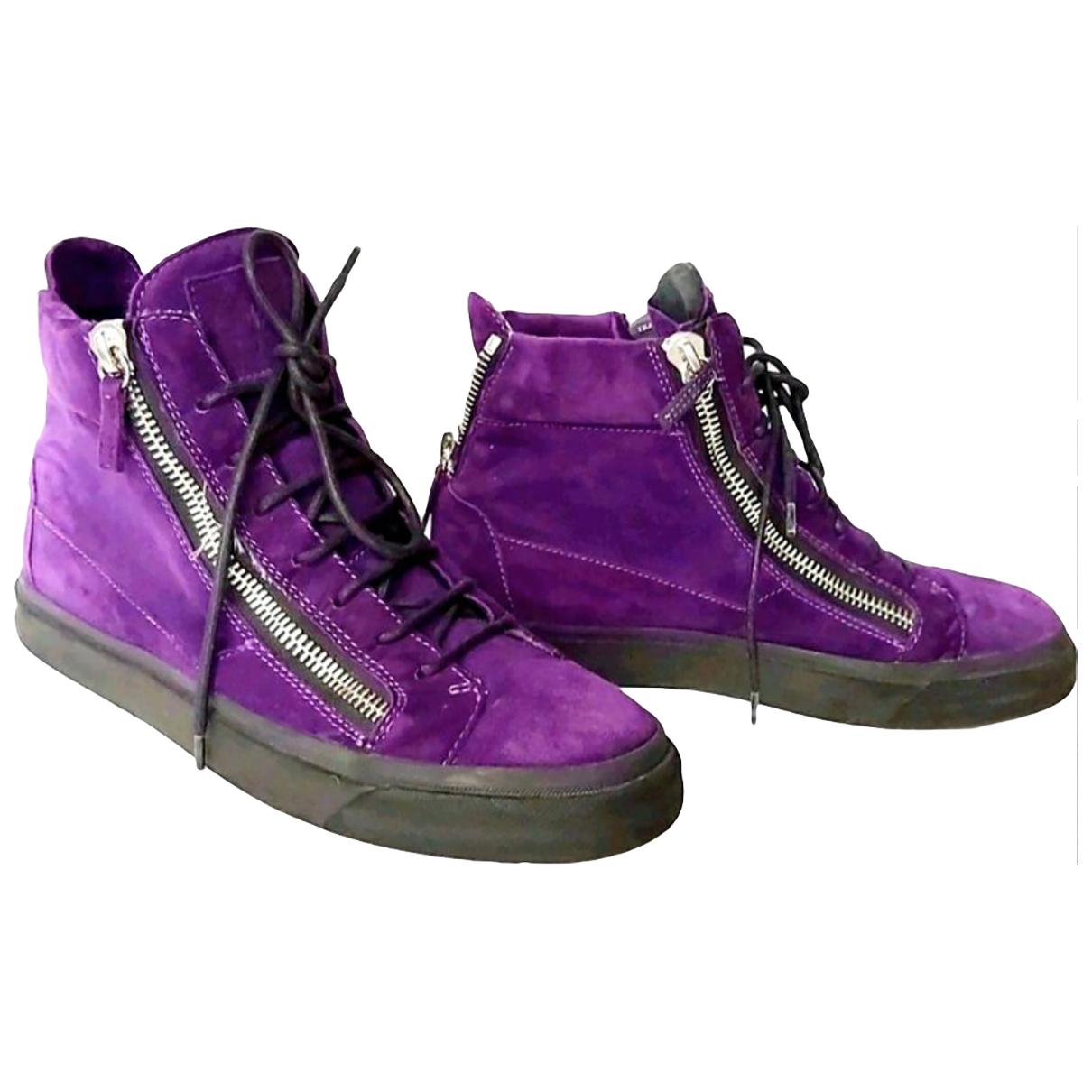 Giuseppe Zanotti - Baskets   pour femme en suede - violet