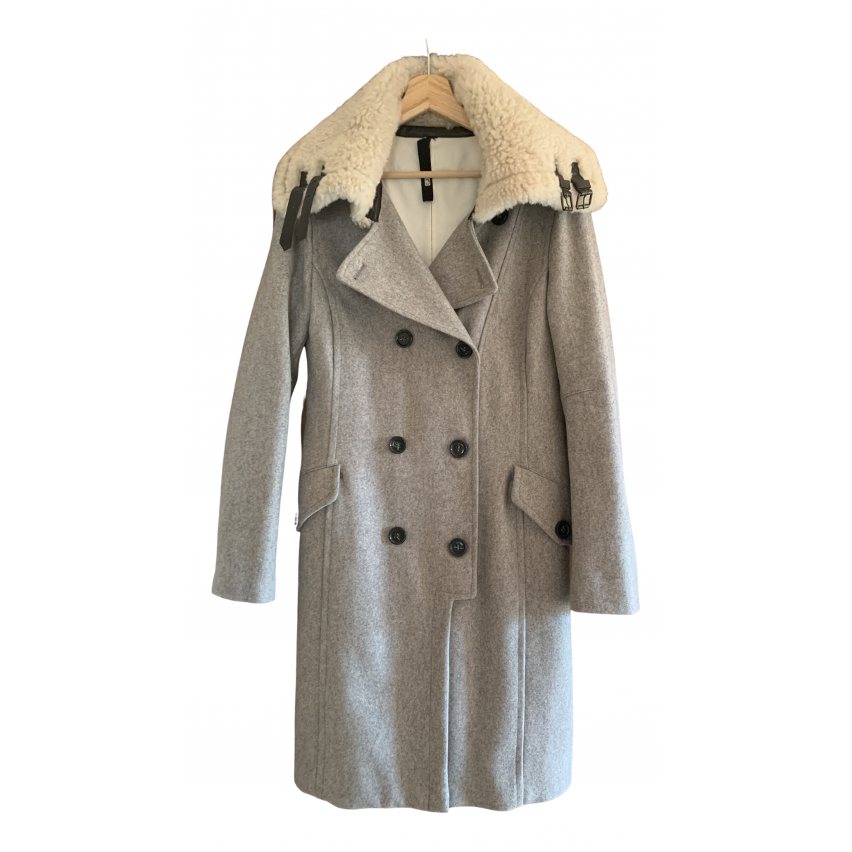 Non Signé / Unsigned N Grey Wool coat for Women 46 IT