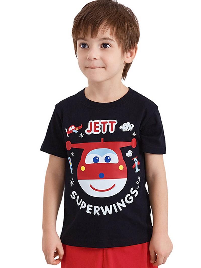Ericdress Cartoon Printed Scoop Short Sleeve Boys T-Shirt