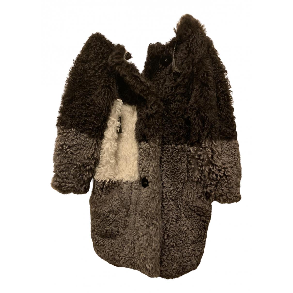 Fendi - Manteau   pour femme en fourrure - gris